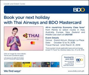Thai Airways and BDO Mastercard 2018/10/12